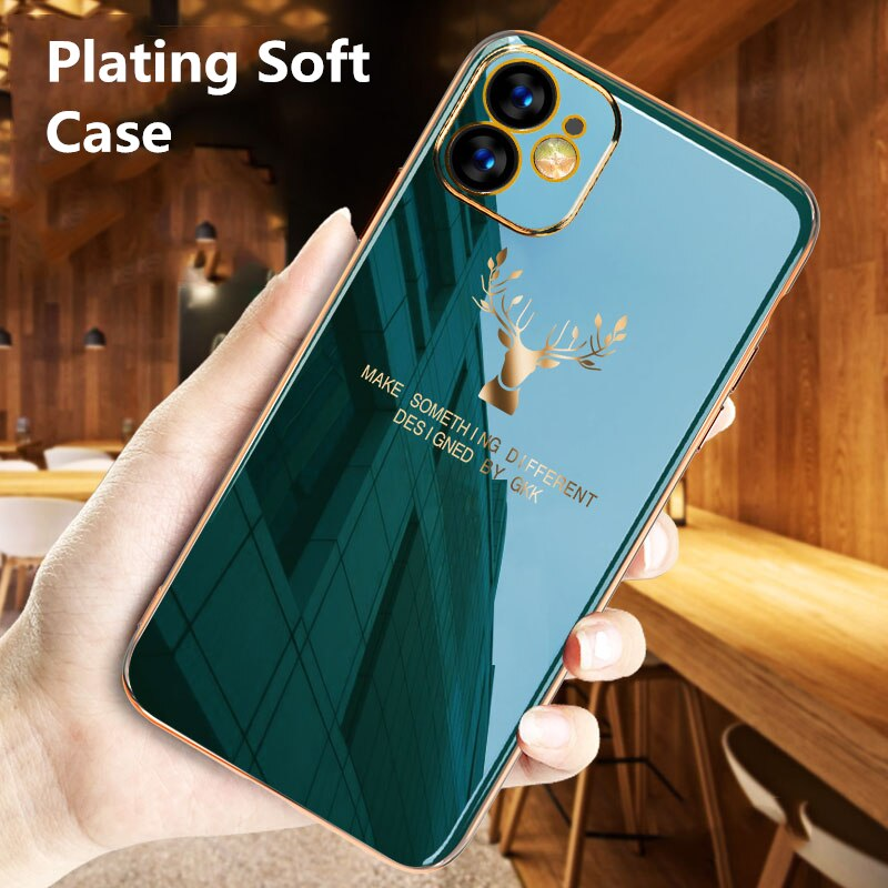 Ultra thin Plating Protect Elk Silicone Soft Phone Case For iPhone