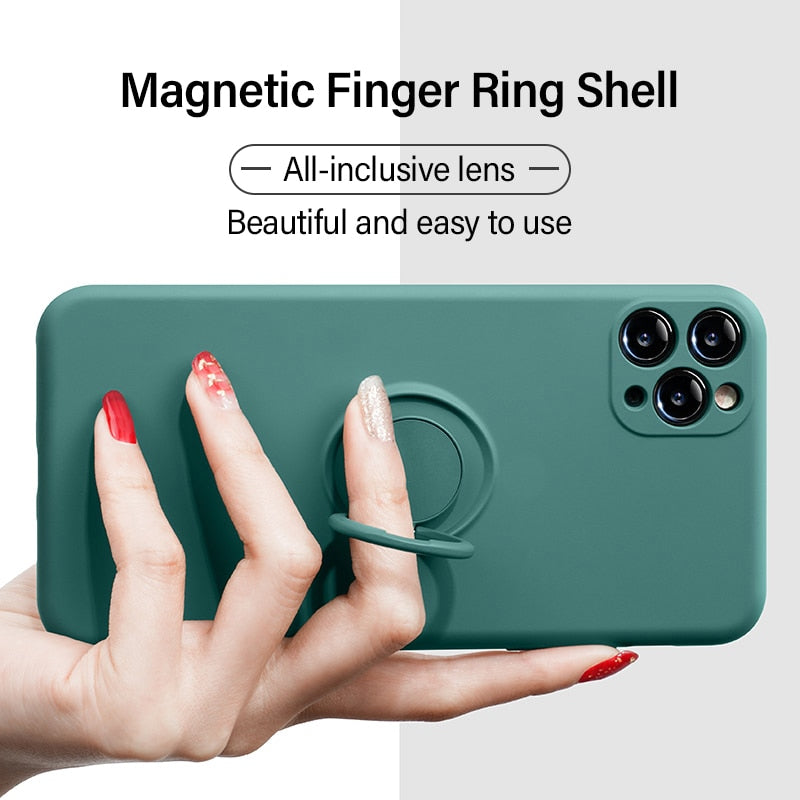 Ultra-thin Silicone Magnetic Holder Stand Finger Ring Bracket Cover Phone Case For iPhone
