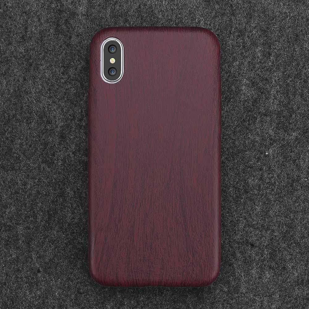 Wood Grain Soft Back Shell Case For iPhone