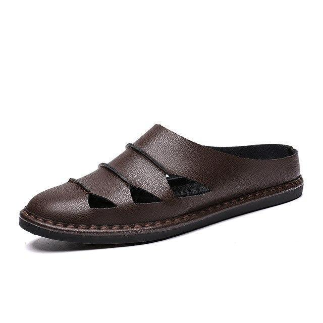 British Style Genuine Leather Beach Summer Men's Casual Sandals