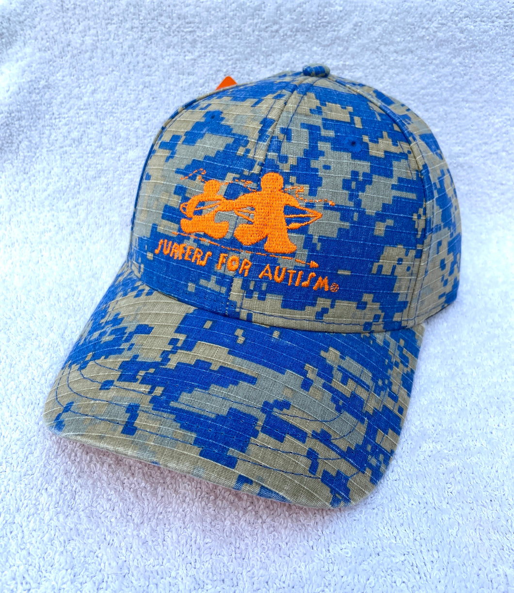 Digital Camo Hat-Blue/Orange