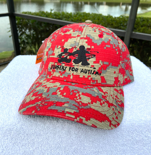 Digital Camo Hat-Red/Grey