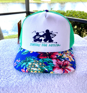 Logo Hat-Teal/Flowers