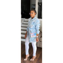 "Load image into Gallery viewer, ""High Fashion"" Distressed Denim Jacket"