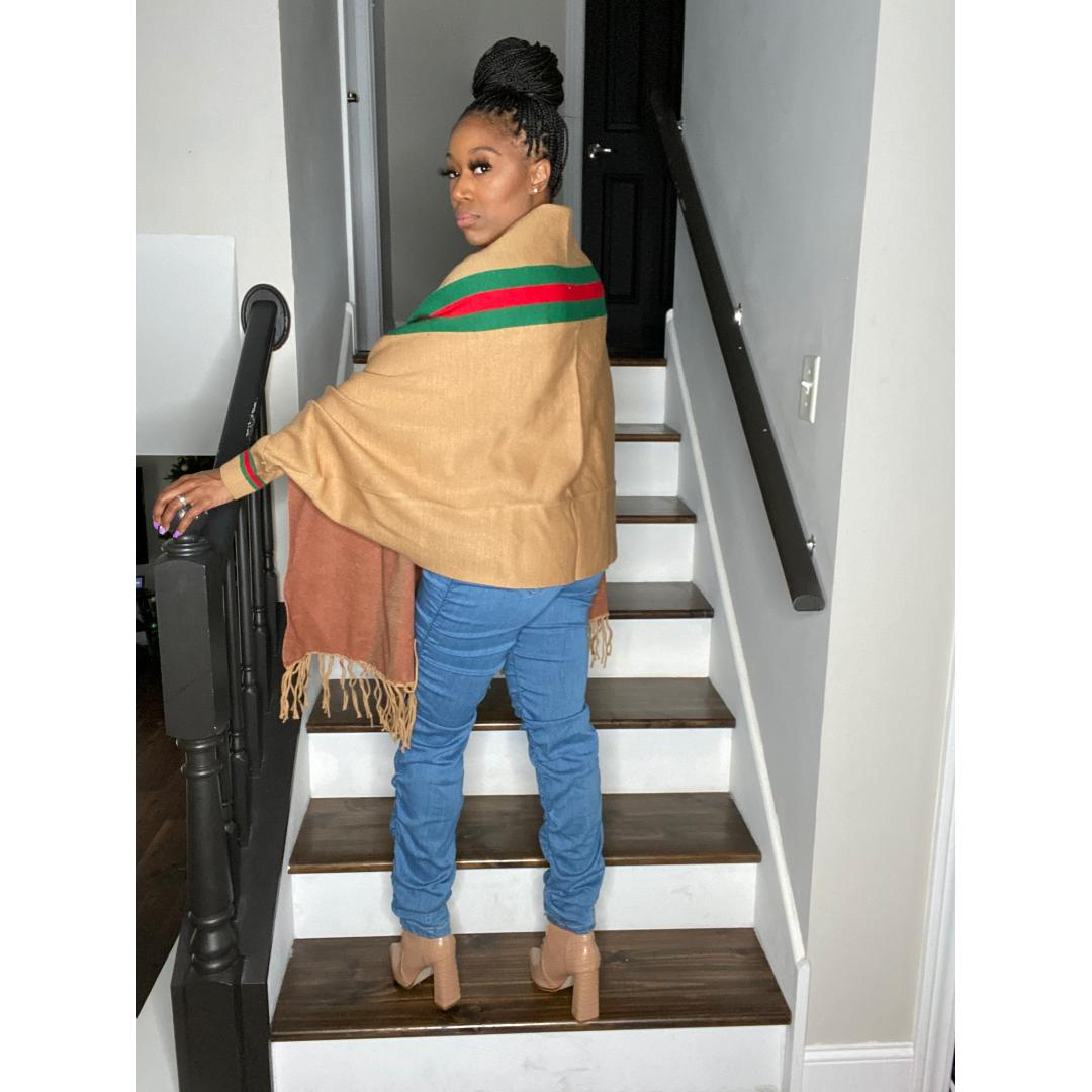 """Lux Life"" Poncho - Camel"
