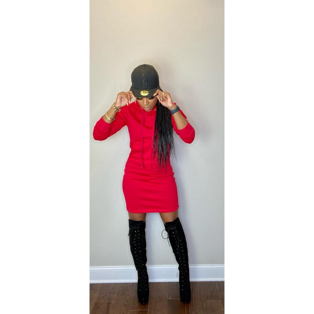 """Tiffany"" Hoodie Dress - Red"