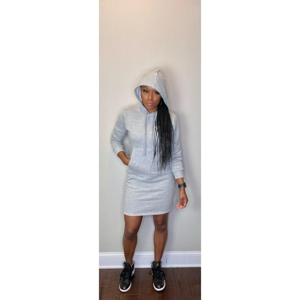 """Tiffany"" Hoodie Dress - Gray"