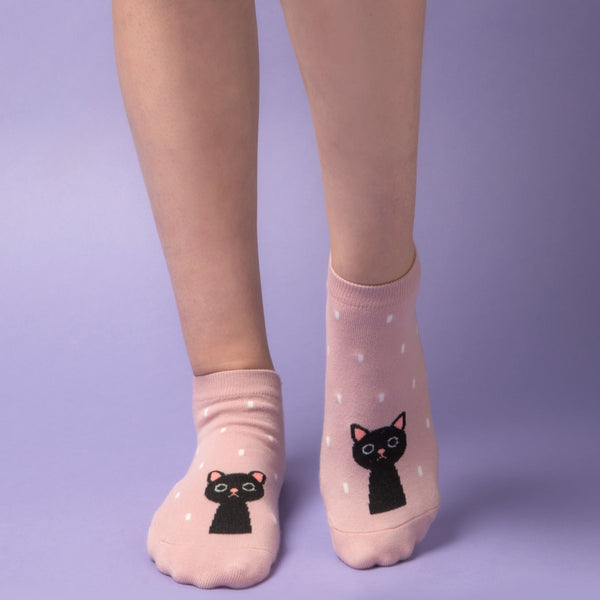 Cute Cat Dot Socks for Women (4 Pair Set)