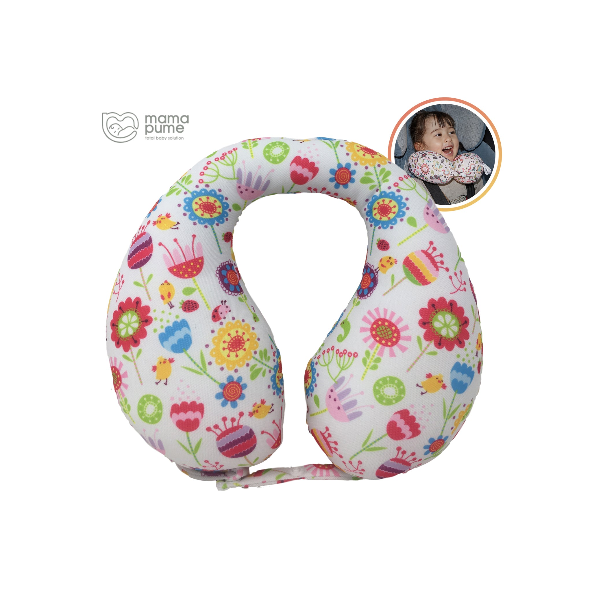Mamapume Baby Car Seat Head&Neck Support Pillow (Spring Garden)