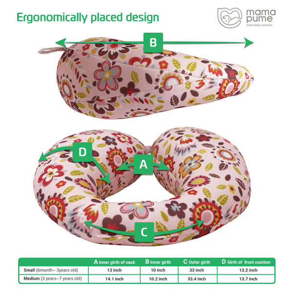 Mamapume Baby Car Seat Head&Neck Support Pillow (Lovesome Flower)