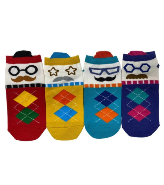 Mustache with Glass Socks (4 pairs set)