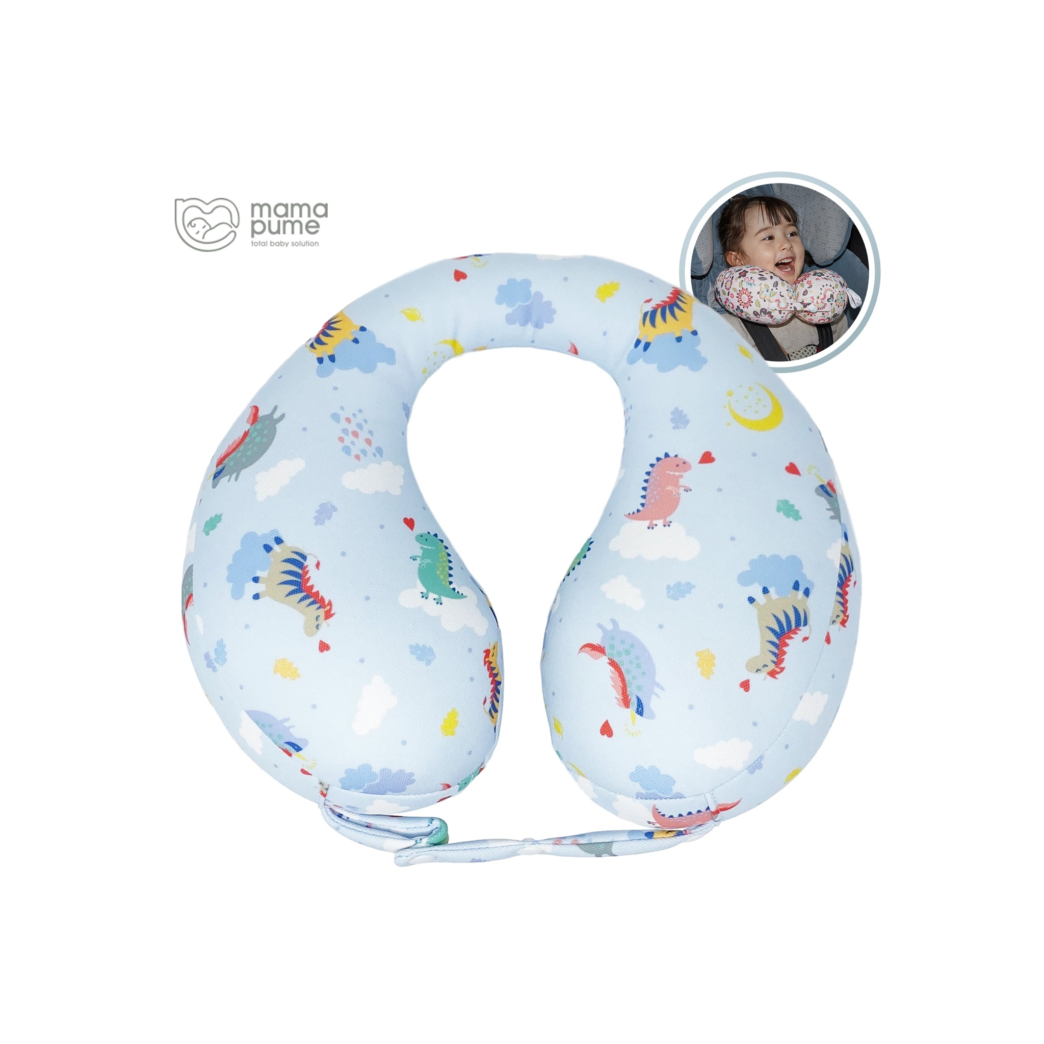 Mamapume Baby Car Seat Head&Neck Support Pillow (Dreaming Sky)