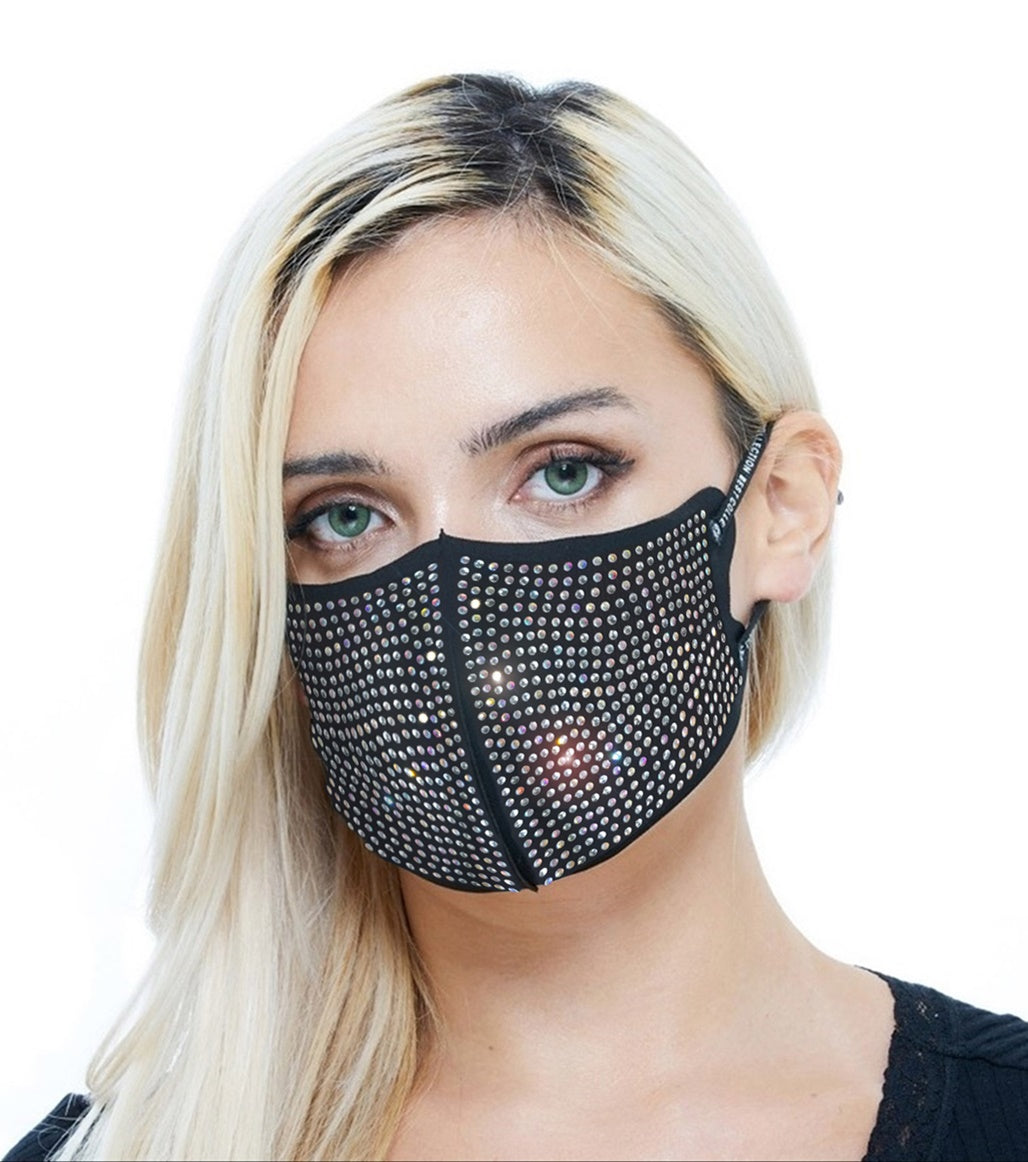 Rhinestone Sparkle Fashion Black Shiny Mask for Women Adjustable Ear Loop