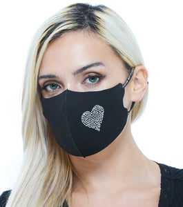 Rhinestone Sparkle Fashion Black Heart Mask for Women Adjustable Ear Loop