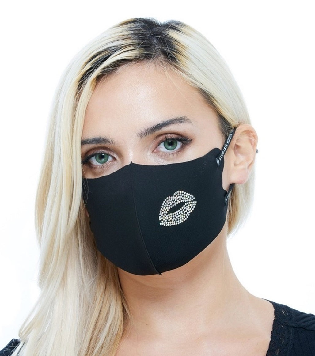 Rhinestone Sparkle Fashion Black Lip Mask for Women Adjustable Ear Loop