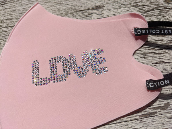 Rhinestone Sparkle Fashion Pink Love Mask for Women Adjustable Ear Loop