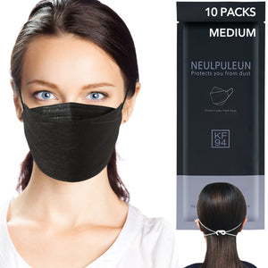 Medium [KF94 Certifed] Black Disposable 4-Layer Filters Face Mask Made In Korea