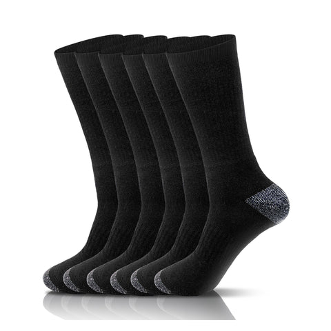 Black Crew Athletic Running Sports Socks (6 Pack)