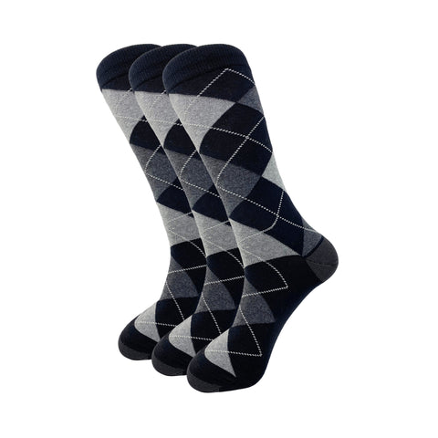 Black Argyle Pattern Cotton Crew Dress Socks (3 Pack)