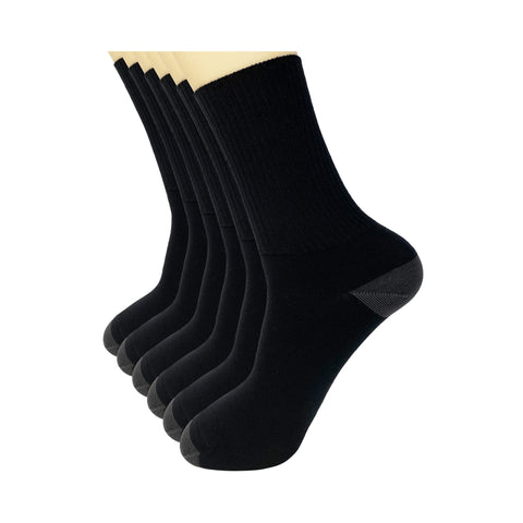 Black Cotton Crew Dress Socks for Men Women (6 Pack)