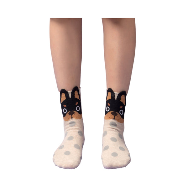 Cute Doggy Face with Dot Socks (5 Pair Set)