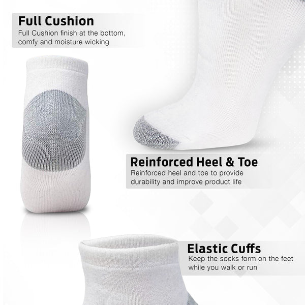 White Ankle Athletic Running Sports Socks (6 Pack)
