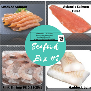 "Seafood Box ""2""- sliced smoked Salmon, Salmon fillet, Shrimp, Haddock"