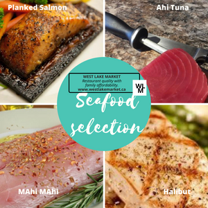 Seafood premium combination package - Salmon, Ahi tuna, Mahi Mahi, Halibut