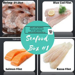 "Seafood Box ""1""- Pink Shrimp, Blue Cod, Basa fillets, Salmon loin - Frozen"