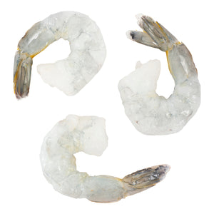 Shrimp - White, peeled, deveined, raw, tail-on 21/25 per pack (2 bags 2.5 lb per bag) -Frozen