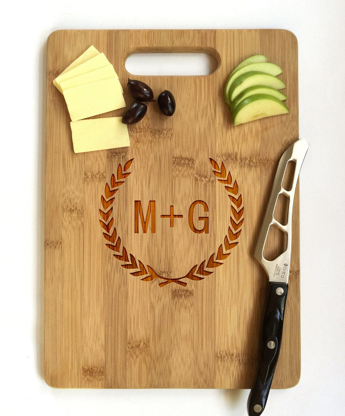 Custom Engraved Cutting Board with Laurel Wreath Design