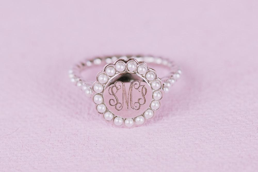 Pearl Monogram Ring in Sterling Silver