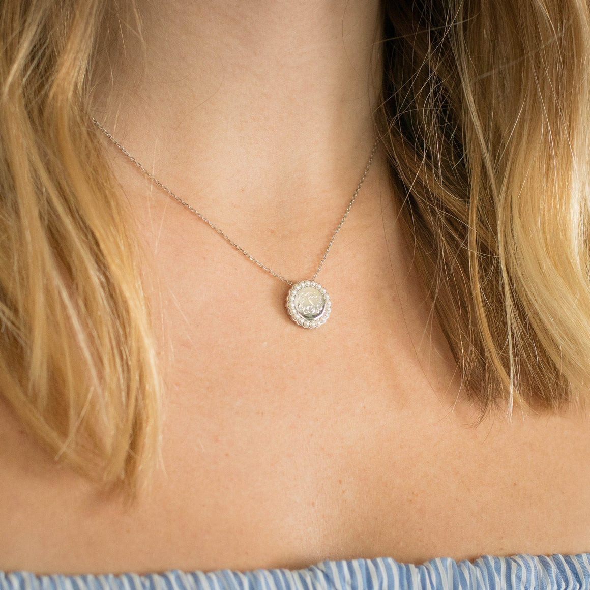 Monogram Pearl Necklace in Sterling Silver