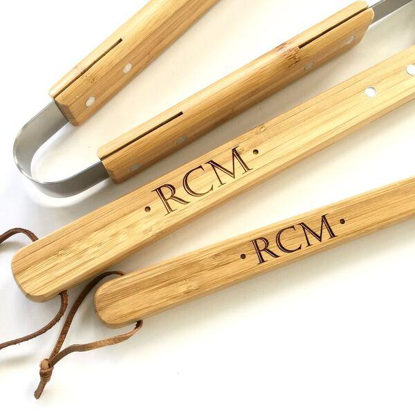 Personalized Barbeque Grill Tool Set Custom 3 Piece BBQ Tools