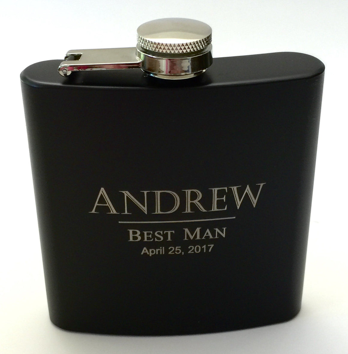 Bridesmaid Flasks in Pink or Groomsmen Flasks in Black Personalized