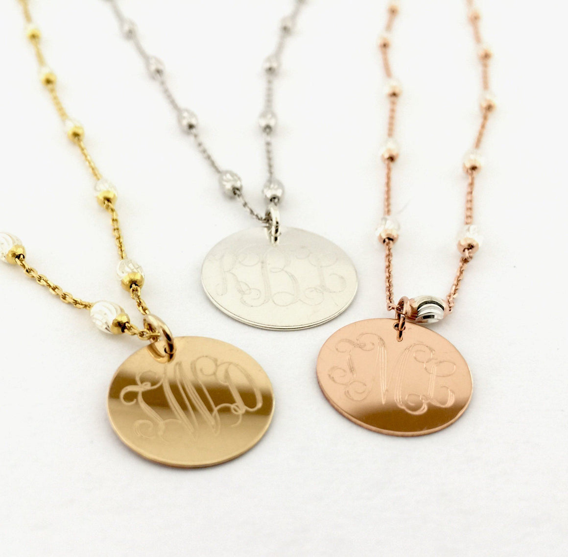 Saturn Chain Monogram Necklace in Silver  or Two-tone Gold Silver, or Rose Gold Silver