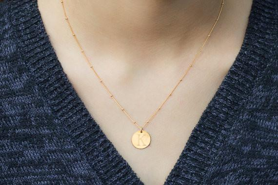 Sterling Silver or Gold Filled Monogrammed Necklace with Satellite Chain