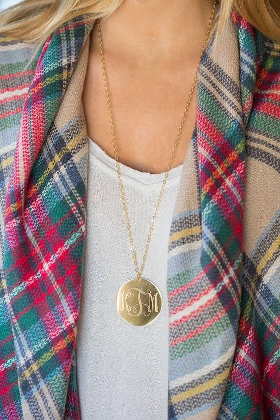 Large Gold Monogram Statement Necklace