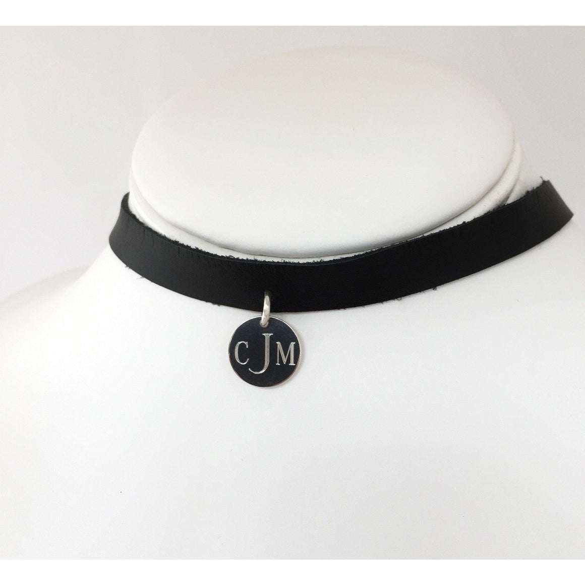 Monogram Leather Choker Necklace Black and Silver