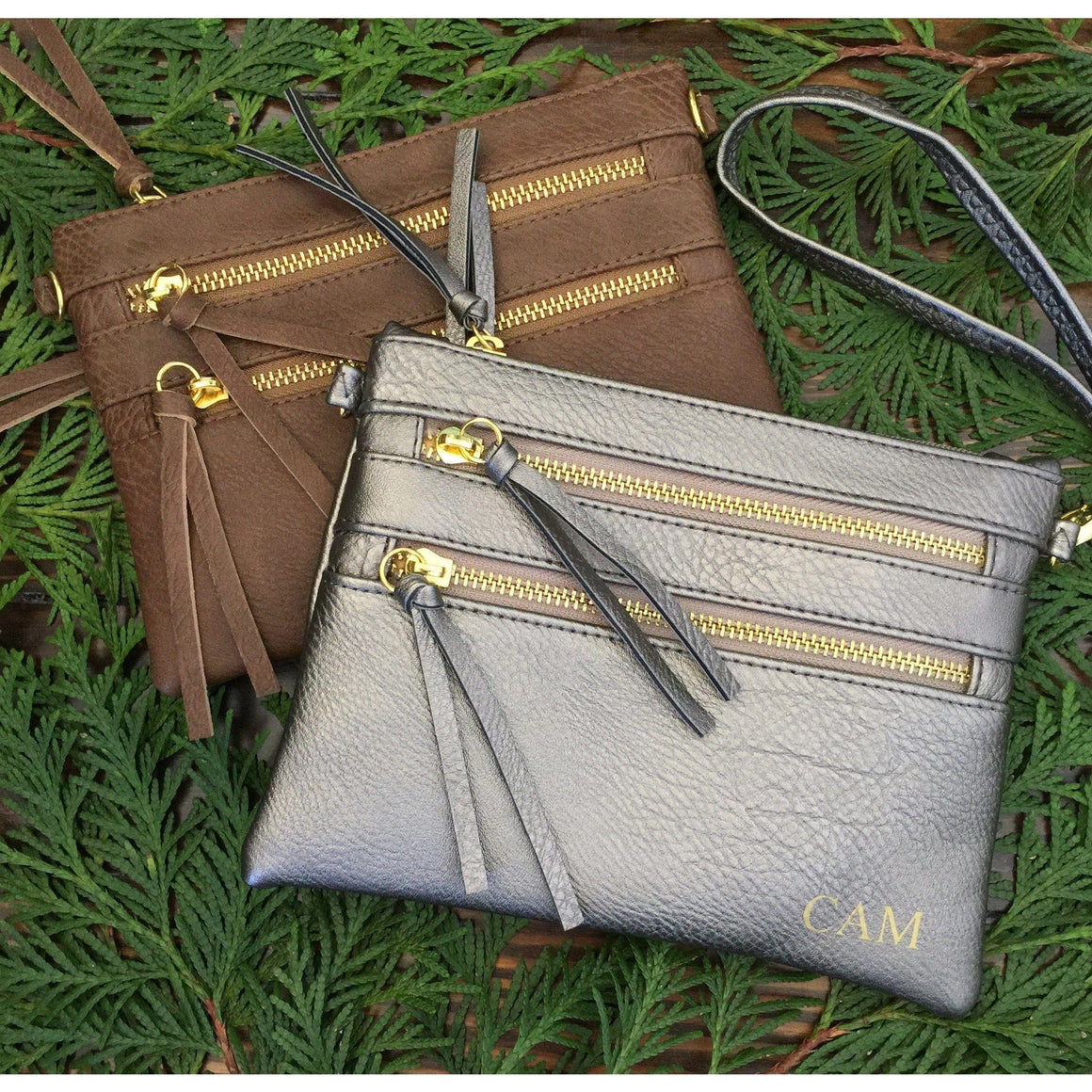 Monogram Purse Wristlet in Pewter or Brown