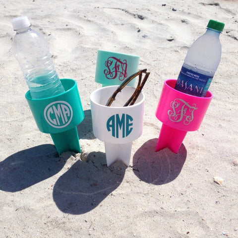 Personalized Beach Spiker Monogram Cup Holder