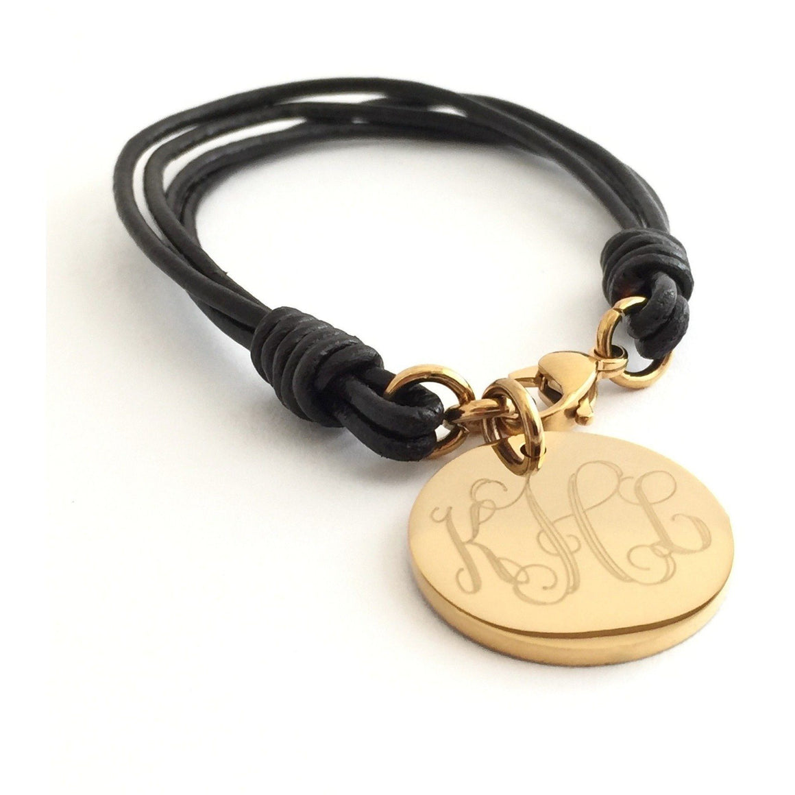 Leather Monogram Bracelet With Gold Charm
