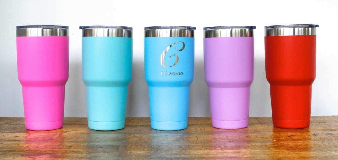 Powder Coated Tumbler 30oz Engraved Double Wall Insulated Stainless Steel