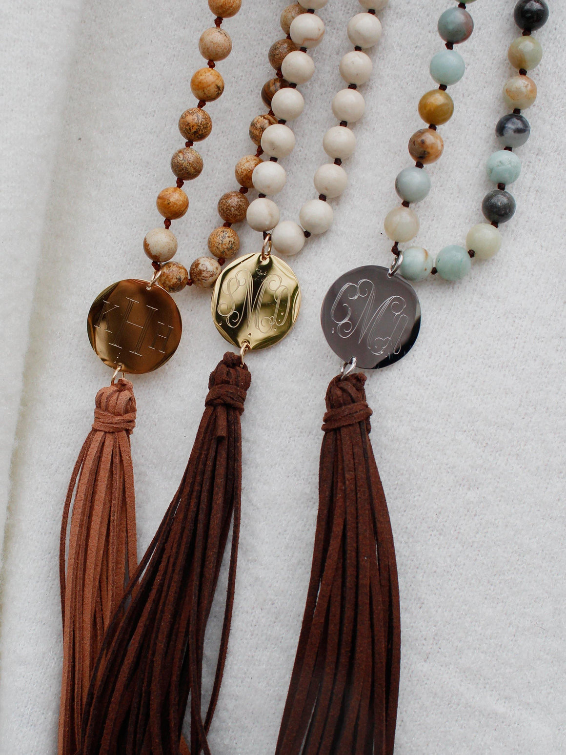Long Monogram Stone and Leather Tassel Necklace