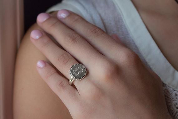 Nautical Monogram Ring in Sterling Silver