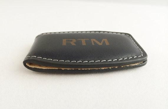 Monogrammed Leather Money Clip in Black or Brown