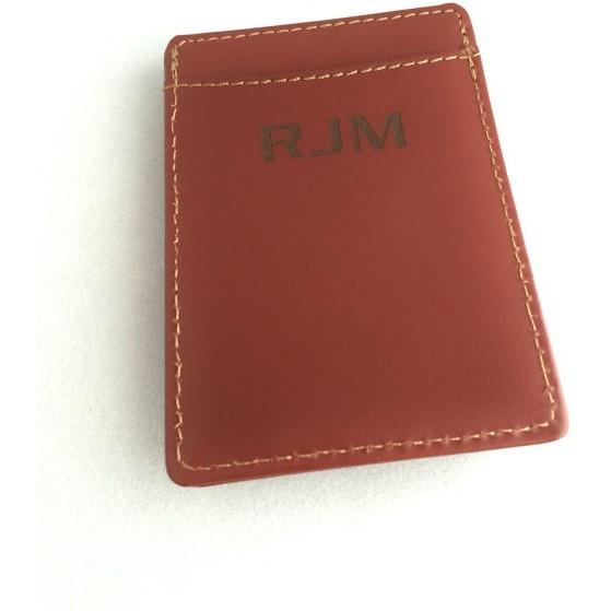 Personalized Leather Money Clip/Card Holder