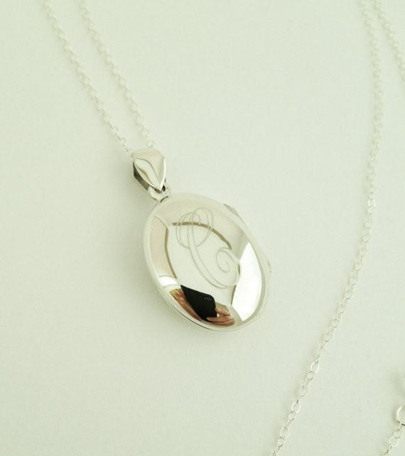 Monogram Locket Necklace in Sterling Silver