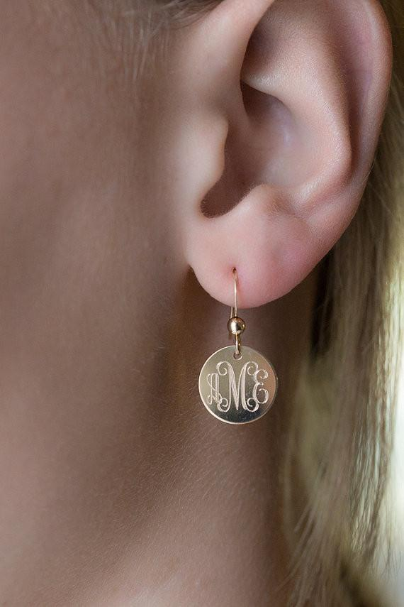 Monogram Dangle Earrings Gold Filled