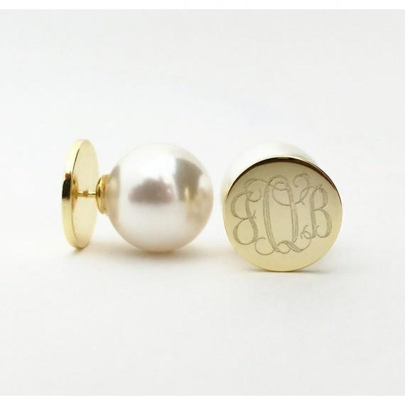 gold pearl back earrings